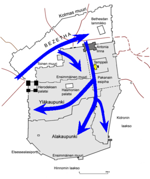 Progress of Roman Army during Jerusalem Siege